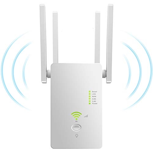 AC1200 5GHZ&2.4GHZ Dual Band WiFi Range Extender WiFi Long Range Extender Repeater/Access Point/Router/Wireless Signal Booster & Gigabit Ethernet Port WiFi Range Amplifier 4 External Antennas