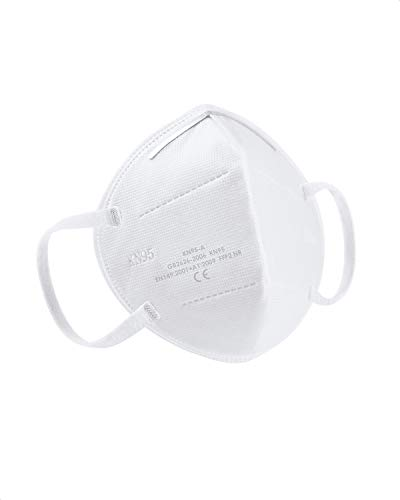 AFAC KN95 Face Mask Multi-Layer Filters Dust Mask Breathable with White Elastic Ear Loop 10 Packs