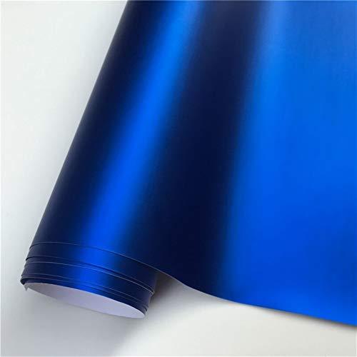OLDJTK 14 Farben rot blau Gold grün lila Matte Satin Chrom Vinyl wrap filmaufkleber Aufkleber Blase Auto Wrapping Film (Color : Dark Blue, Size : 152X30 cm)