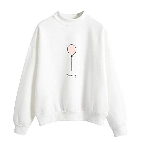 ZCMWY Niedliche Hoodies Frauen Sport Mantel Langarm Einfarbig Ballon Print Sweatshirts Einfarbig Frühling Mädchen Pullover XXL Weiß