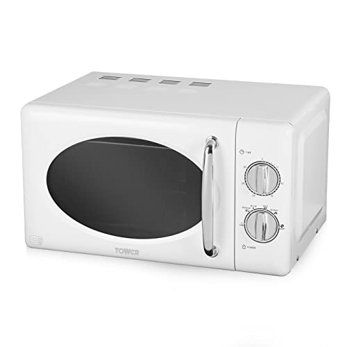 Tower T24017 20L Manual Microwave with 800W Power Output and 30 Minute Timer, Stainless Steel