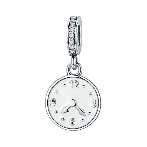 DFHTR Collar Colgante De Plata Esterlina 925 Reloj Happy Time Grabado Colgante Charm Fit Pulsera De Mujer Joyería De Plata Esterlina