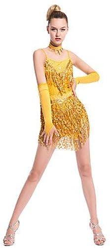 Tanz-Outfit wudaofu Latin Vêtements de Danse (Fuchsia Or Rouge, Paillettes Lait fieber, Latin Danse) fürfemmes Robe Manches Longues Normal