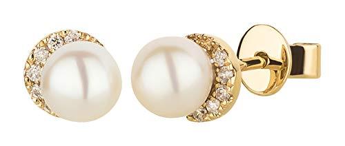 Ardeo Aurum Damen Ohrringe-Ohrstecker aus 375 Gold Gelbgold mit 0,06 ct Diamant Brillant 5,0 mm Süßwasser-Perlen rund