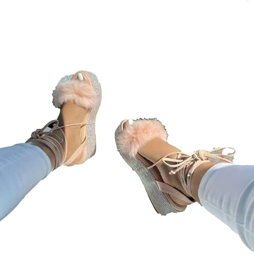 HNSQSM Diapositivas Zapatillas Furry Fuzzy Slides Punta Abierta Diapositivas Mullidas Coloridas Sandalias De Plumas De Pavo Zapatos De Piel Sin Cordones para Mujeres