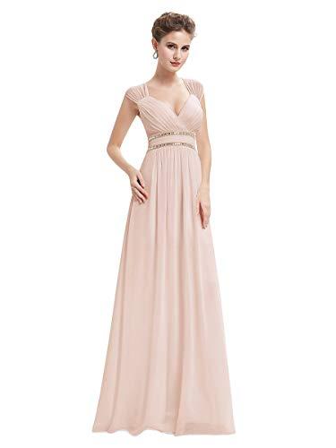 Ever-Pretty Damen Abendkleid A-Linie Festliches Kleid V Ausschnitt Brautjungfer rückenfrei lang Nackt Rosa 42