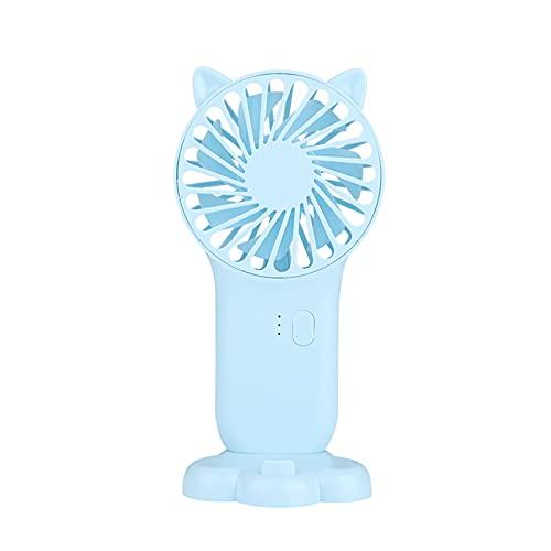Staright Mini ventilador portátil de 3 velocidades, ventiladores eléctricos recargables USB ajustables, 3 engranajes, interruptor de encendido y apagado, lindo enfriador de aire (azul)