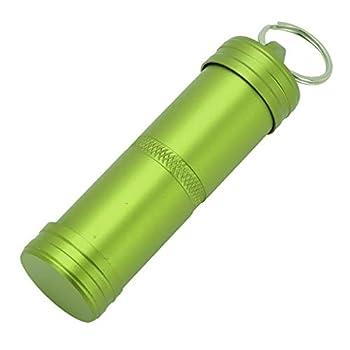 JanJean Outdoor EDC Boîte de survie pour pilules, porte-clés, capsule hermétique, étanche et étanche pour bouteille de camping Vert Taille unique