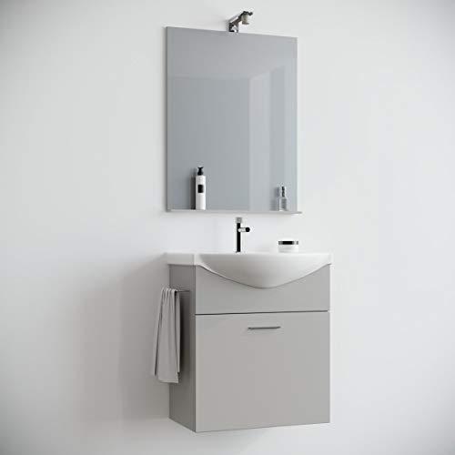 MarinelliGroup Mobile Bagno salvaspazio sospeso 60 cm Grigio Perla Opaco con lavabo in Ceramica Specchio e Luce Papavero