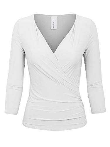 KOGMO Womens 3/4 Sleeve Side Wrap Ruched Shirred Slim Fit V-Neck Top Shirts-L-White