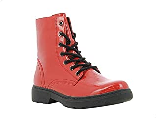 Sprox Patent Leather Side Zip Combat Boots For Women
