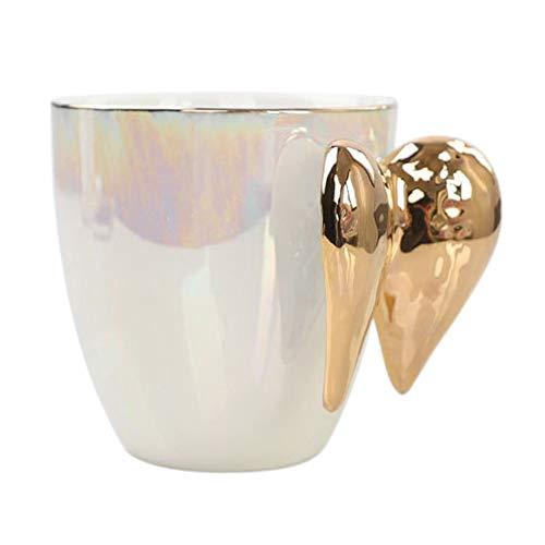 cherrypop Taza de café con mango chapado en oro, diseño de alas de ángel, color blanco, para oficina, hogar, té, leche, porcelana, regalo para parejas, decoración del hogar