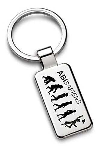 Schlüsselanhänger mit Gravur zum Abi - Abisapiens - verchromt 7288 - inkl. Wunsch-Name auf der Rückseite