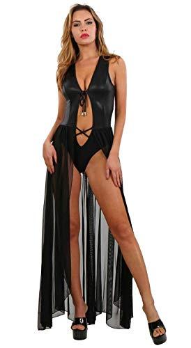 Miss Noir Wetlook Langes Kleid Tüll Glitzereffekt Verdecktem Body Clubwear Partykleid, Schwarz, L/XL
