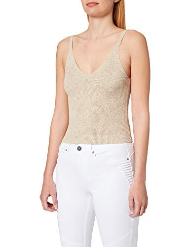 ONLY Damen ONLLINA S/L TOP Petit KNT Trägershirt/Cami Shirt, Pumice Stone, M