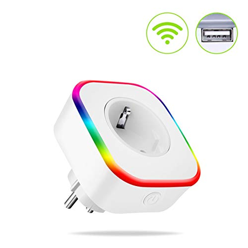 Enchufe Wifi, HQQNUO Enchufe Inteligente con USB, Control Remoto/Mando de Voz, Luces de Ambiente Colorido, Temporizador Enchufe, Compatible con Google Home/Amazon Alexa/Android/IOS