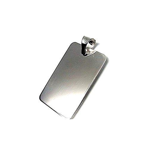 32 millimetri 925m legge ciondolo in argento. 17 millimetri di larghezza foglio piatto. Unisex [AA7965GR] - personalizzabile - REGISTRAZIONE INCLUSO NEL PREZZO