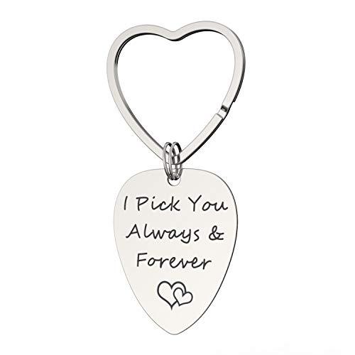 Llavero de Coche Aleación Guitar Pick Llavero Anillo Colgante Decoración Amor Colección Regalo Día de San Valentín - I Pick You Always & Forever
