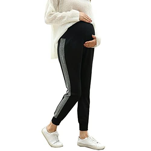 Pantaloni Premaman Donna Nero Pantaloni maternità Fascia Elastica Gravidanza Pantalone/L