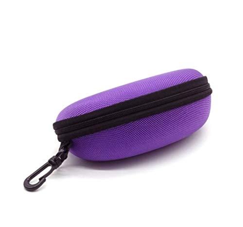 Caso de Eyewear Portable de la Cremallera de los Ojos Gafas de Sol de la Caja de almeja Shell Duro Bolsa Protector Negro Azul Gris Rojo (Color : Purple)