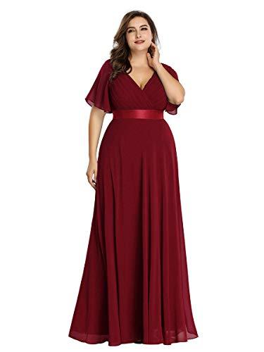 Ever-Pretty Damen Abendkleid A-Linie Lange Festliches Kleid V Ausschnitt Kurze Ärmel Hohe Taille Burgund 48