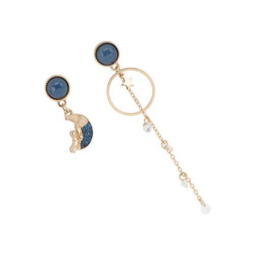 Holibanna 1 par de brincos de liga de liga e estrela da lua com strass e design assimétrico, brincos criativos, joias de presente para casamento, festa de aniversário, cor A 7.3x2.1cm