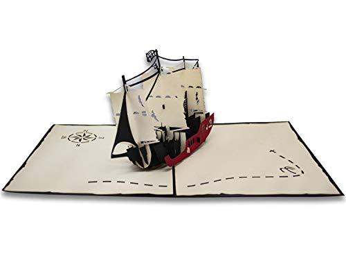 Tarjeta de felicitación de Origami, el veliero de los piratas