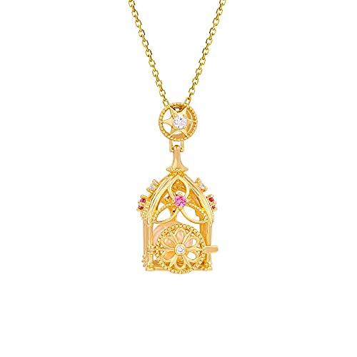 Plata de ley 925 colgante de perlas naturales carro de calabaza diseño tridimensional puede abrir collar de jaula de pájaros cadena de suéter