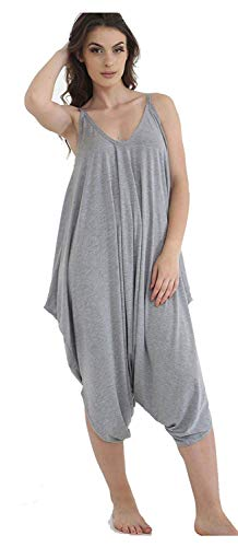 MISS BOHO CHIC Dames Womens Plain Ali Baba Harem pak Cami Strappy Lagenlook jurk Oversized All in One Jumpsuit Grijs