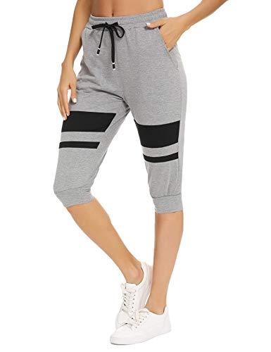 Akalnny Damen 3/4 Sporthose Jogginghose Sportleggings Yogahose mit Kontraststreifen für Sport und Freizeit Grau L