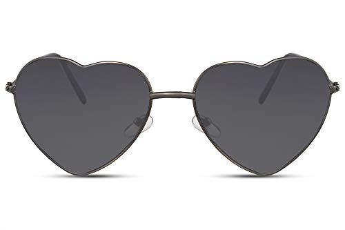 Cheapass Sonnenbrille Herz-Förmig Schwarz Cat-Eye Dünn Klein UV-400 Designer-Brille Metall Damen Frauen