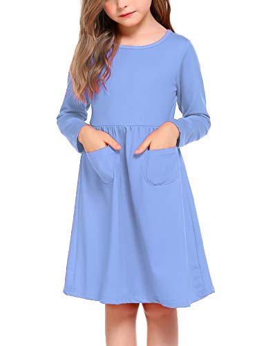 Arshiner Little Girls Long Sleeve Solid Color Casual Skater Dress Blue 130(Age for 8-9Y)