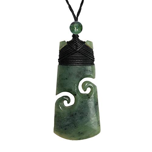 81stgeneration Women's Men's Carved Nephrite Jade Greenstone Maori Double Koru Toki Pendant Necklace