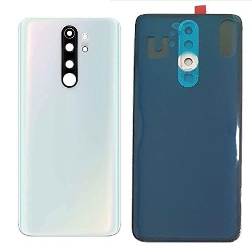 Kit de 3 fundas de batería + adhesivo de doble cara + lente compatible para Xiaomi Redmi Note 8 Pro (6.53) M1906G7I M1906G7G Cristal posterior trasera carcasa adhesiva + lente con marco (blanco)