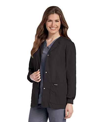 Landau Women's Premium Snap-Front 4-Pocket Crew Neck Warm-Up Scrub Jacket, Black, XX-Large