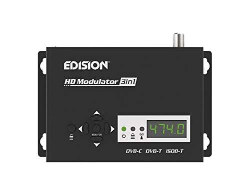 EDISION HDMI Modulator 3in1, Single HDMI RF Modulator auf Kabel DVB-C, Terrestrisch DVB-T oder ISDB-T MPEG4, 3 AUSWÄHLBARE Modulations-Ausgangssignale, Full HD Verteilung über Koaxial, Plug and Play