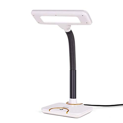 Zyyqt Table lamp, LED Desk Lamp Eye-Care Button Control Table Lamps Blu-ray Reduction Reading Desk Lamp Multi-Angle Adjustment for Wider Lighting Reading (Color : White)