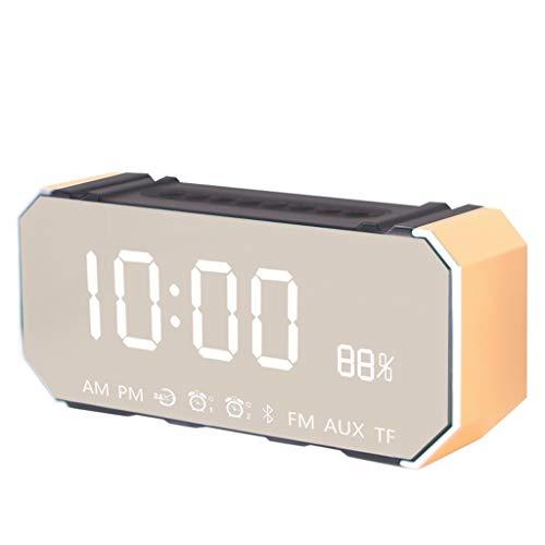Reloj despertador analógico Reloj de cabecera Relo Reloj despertador Mute pequeño con altavoz Bluetooth, altavoz Bluetooth inalámbrico, reloj electrónico de pistola de acero pequeño, reloj int