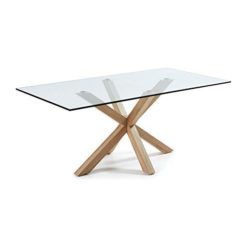 LF - Table de salle à manger Arya 200 x 100 plateau verre pied bois