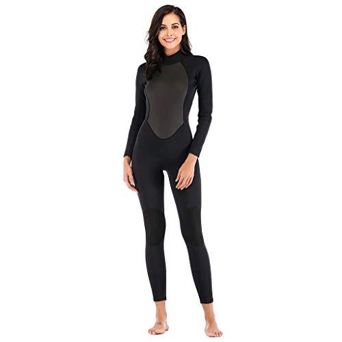 LOPILY Damen Neoprenanzug Wakeboarding Schwimmen Surfen Tauchen Sport Badeanzug Wetsuit 3MM Ganzkörperanzug Surfbekleidung Taucheranzug Schnelltrocknend(Schwarz,XL)
