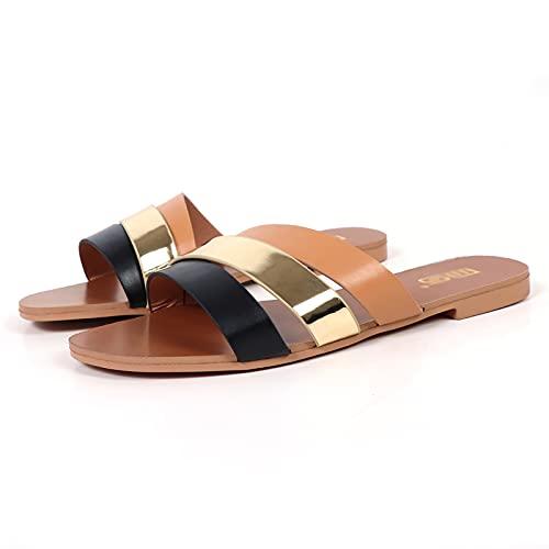 MQQ Sandali Donna Casual Shoes Pantofole Roma retrò Thick Bottom Open Toe Sandals Sandals Slip Slitta,d'oro,39