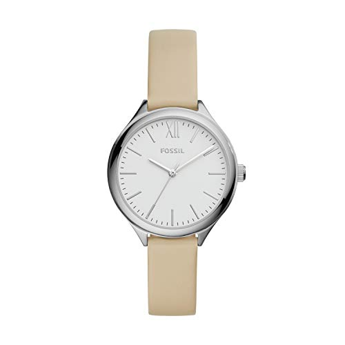 Fossil Women's Suitor Quartz Metal and Leather Dress Watch, Color: Silver, Beige (Model: BQ8003)