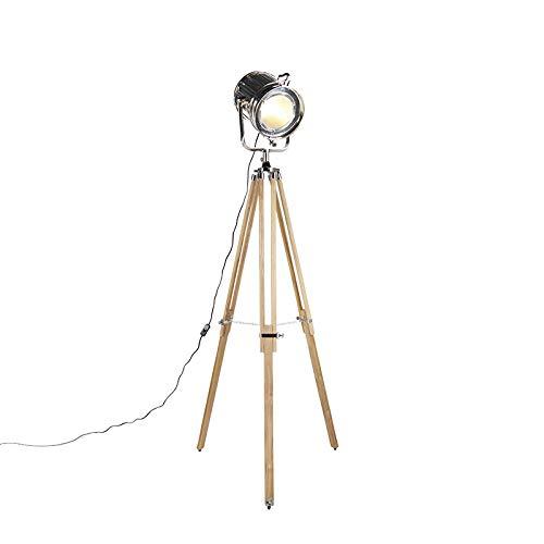 QAZQA Industrieel Vloerlamp met houten driepoot en studiospot - Tripod Construct Aluminium/Glas/Hout Rond/Overig Geschikt voor LED Max. 1 x 40 Watt