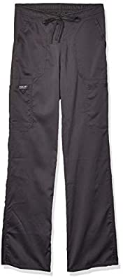 WW Revolution by Cherokee Women's Mid Rise Moderate Flare Drawstring Pant Tall, Pewter, Small Tall