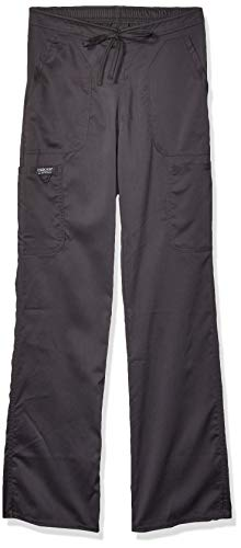 CHEROKEE Women's Mid Rise Moderate Flare Drawstring Pant, Pewter, XX-Small