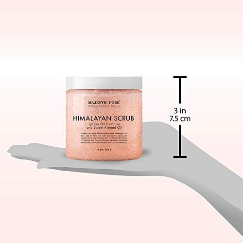 Majestic Pure Himalayan Salt Body Scrub with Lychee Oil, Exfoliating Salt Scrub to Exfoliate