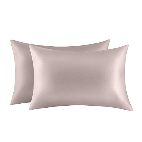 Jocoku 100% Mulberry Silk Pillowcases Set of 2 for Hair and Skin and Super Soft and Breathable Queen Size Nature Silk Pillowcases (Queen, Apricot Gray)