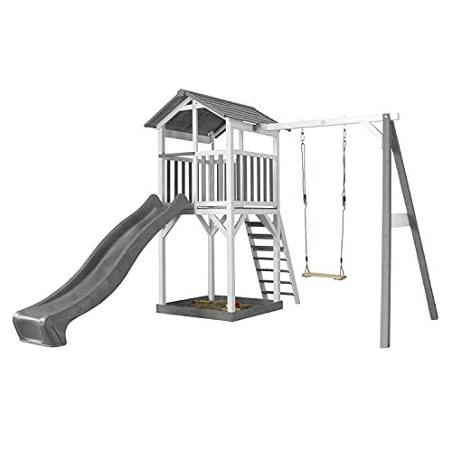AXI Beach Tower Spielturm aus Holz in Weiß & Grau | Spielhaus für Kinder mit grauer Rutsche, Schaukel und Sandkasten | Stelzenhaus für den Garten