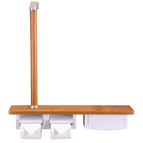 Z-SEAT Haltegriff Holz Multifunktionale Badezimmerhandläufe Stange mit Griff Zwei Rollen Handelshandtuchhalter Toilettenpapierhalter WC-Schienenregal
