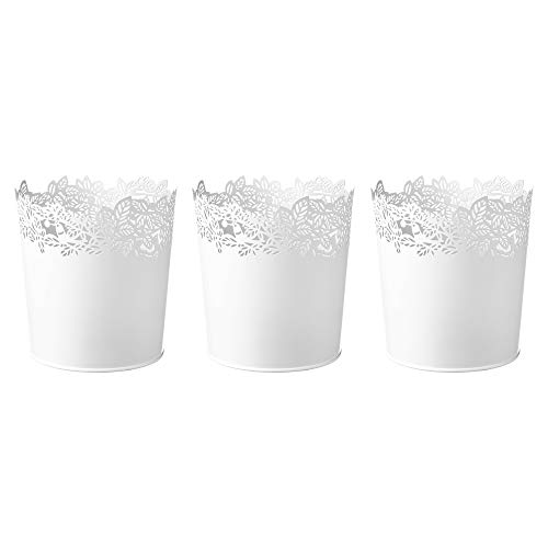 Ikea Samverka Blumentöpfe aus Stahl, 12 cm, Weiß, 3 Stück